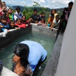 First baptism in Tepeyac's new baptistery.