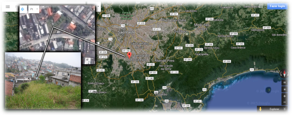 Satellite view of São Paulo, Brazil, with site of property donated for the Guacuri Church